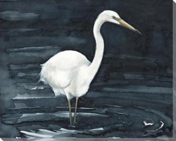 Night Fishing Egret Bird Wrapped Canvas Giclee Art Print Wall Art