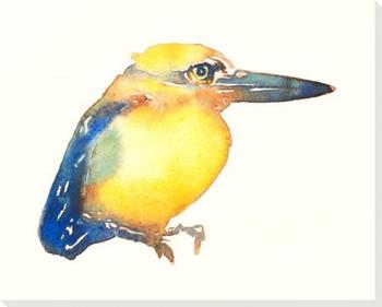 Micronesian Kingfisher Bird Wrapped Canvas Giclee Art Print Wall Art