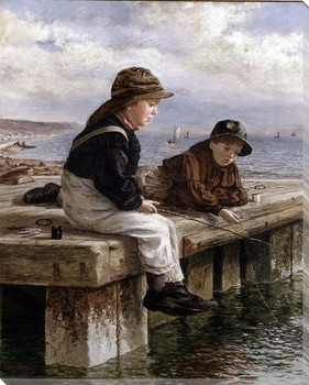 Kids Fishing Wrapped Canvas Giclee Print Wall Art