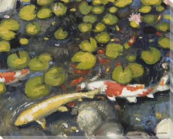 Koi Fish Pond Wrapped Canvas Giclee Print Wall Art