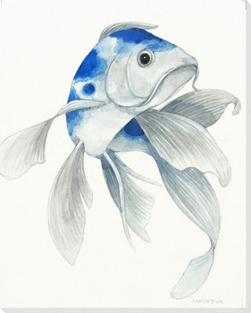 Blue Koi Fish I Wrapped Canvas Giclee Print Wall Art