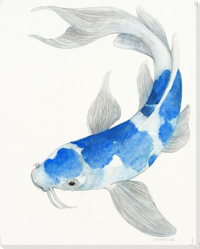 Blue Koi Fish II Wrapped Canvas Giclee Print Wall Art