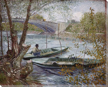 Fishing in Spring Wrapped Canvas Giclee Print Wall Art