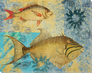 Caribbean Cove Fish 4 Wrapped Canvas Giclee Print Wall Art