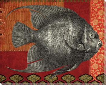 Silver Tropical Fish 1 Wrapped Canvas Giclee Print Wall Art