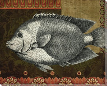 Silver Tropical Fish 2 Wrapped Canvas Giclee Print Wall Art