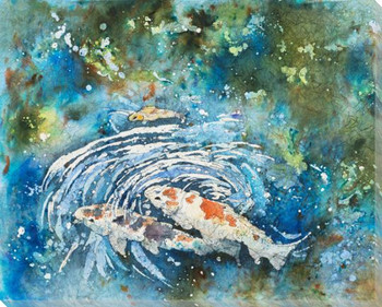 Selby Koi Fish Batik I Wrapped Canvas Giclee Print Wall Art