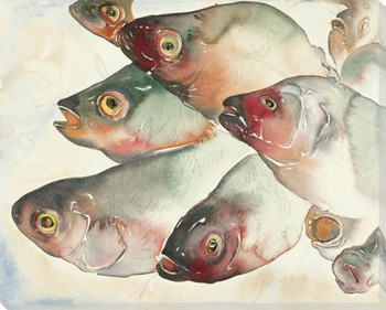 Marche aux Poisson Fish Wrapped Canvas Giclee Print Wall Art