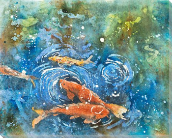 Selby Koi Fish Batik II Wrapped Canvas Giclee Print Wall Art