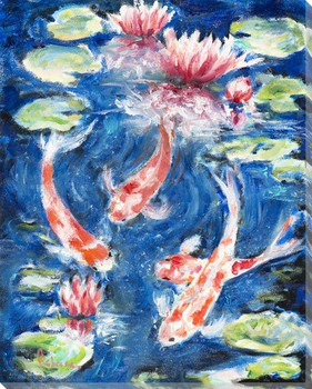 Koi Fish Swimming in a Pond Wrapped Canvas Giclee Art Print Wall Art
