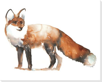 Fox Looking Wrapped Canvas Giclee Print Wall Art