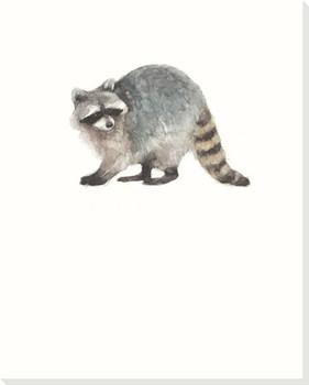 Woodland Raccoon Wrapped Canvas Giclee Print Wall Art