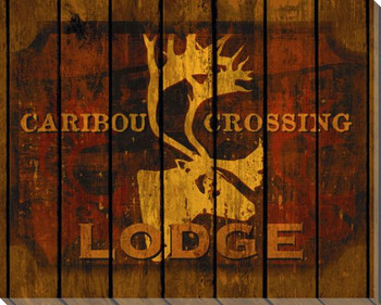 Caribou Crossing Lodge Wrapped Canvas Giclee Print Wall Art