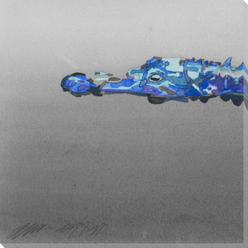 Blue Gator 1 Wrapped Canvas Giclee Print Wall Art