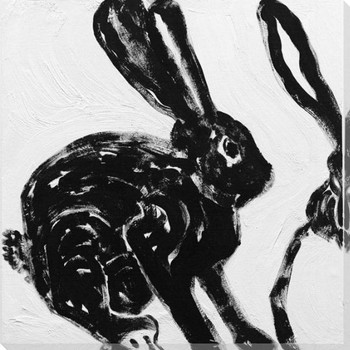 Rabbit Charcoal 2 Wrapped Canvas Giclee Print Wall Art