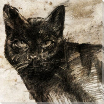 Stone Litho Cat Wrapped Canvas Giclee Print Wall Art