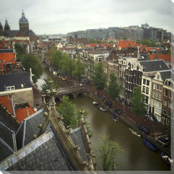 View From Oude Kerk Wrapped Canvas Giclee Print Wall Art