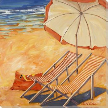 2 Beach Chairs Wrapped Canvas Giclee Print Wall Art