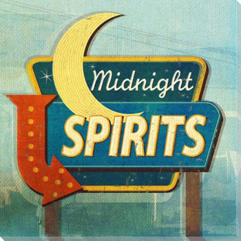 Retro Spirits Sign Wrapped Canvas Giclee Print Wall Art