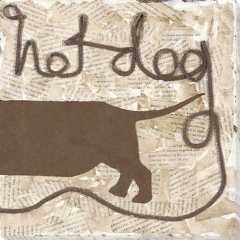 Sidewalk 2 Dog Wrapped Canvas Giclee Print Wall Art