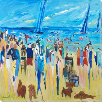 Dogs On the Beach Wrapped Canvas Giclee Print Wall Art