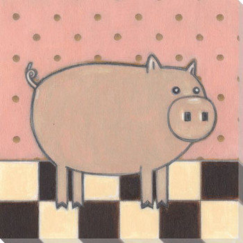 Farm Chic Pig I Wrapped Canvas Giclee Print Wall Art
