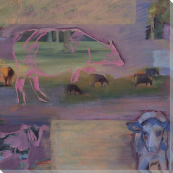 Part Two Cow Collage Diptych I Wrapped Canvas Giclee Print