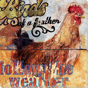 Birds of a Feather Rooster Bird Wrapped Canvas Giclee Print