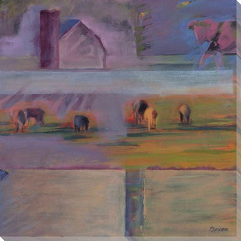 Part Two Cow Collage Diptych II Wrapped Canvas Giclee Print