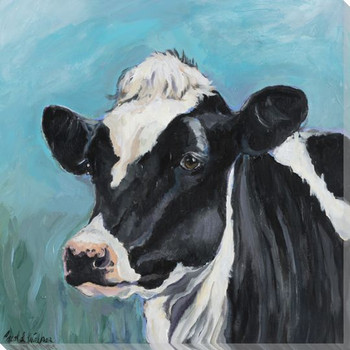 Annabelle Black & White Cow Wrapped Canvas Giclee Print Wall Art