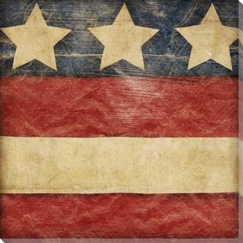 Stars and Bars 3 USA Flag Wrapped Canvas Giclee Print Wall Art