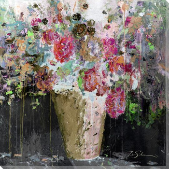 Flower Bucket Wrapped Canvas Giclee Print Wall Art