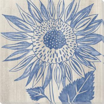 Indigo Sunflower Wrapped Canvas Giclee Print Wall Art