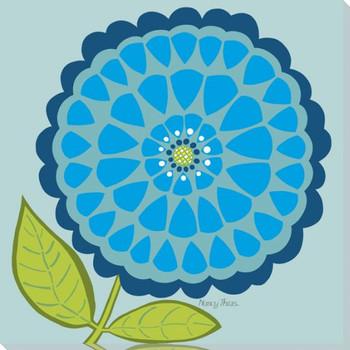 Flower Island Blue Wrapped Canvas Giclee Print Wall Art