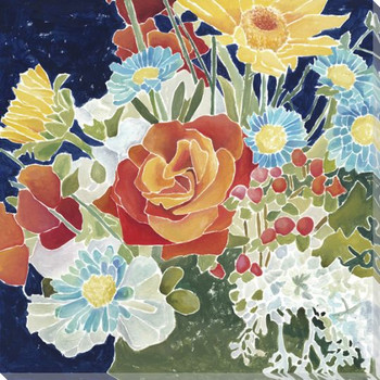 Midnight Florals IV Wrapped Canvas Giclee Print Wall Art