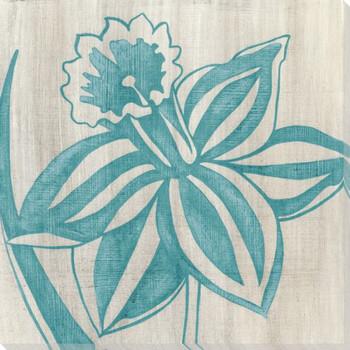 Indigo Daffodil Flower Wrapped Canvas Giclee Print Wall Art