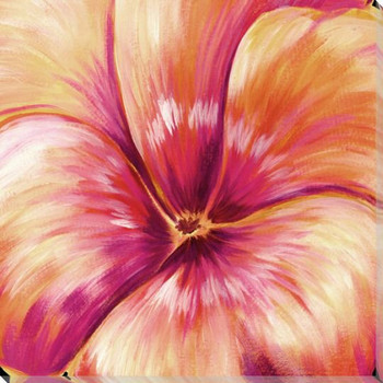 Orange Pansy Flower Detail Wrapped Canvas Giclee Print Wall Art