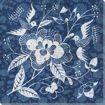 Indigo Garden Design 4 Wrapped Canvas Giclee Print Wall Art