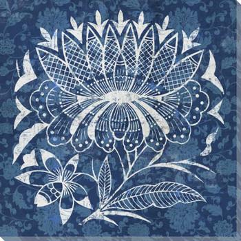 Indigo Garden Design 5 Wrapped Canvas Giclee Print Wall Art