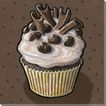 Cupcake with Chocolate Toppings Wrapped Canvas Giclee Print Wall Art