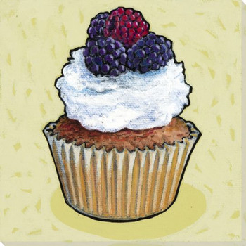 Cupcake with White Frosting and Fruit Wrapped Canvas Giclee Art Print