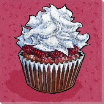 Cupcake with Fruit and White Frosting Wrapped Canvas Giclee Art Print