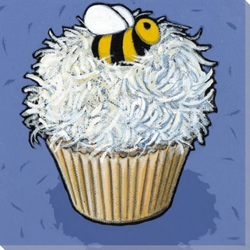 Cupcake with White Frosting and a Bee Wrapped Canvas Giclee Art Print