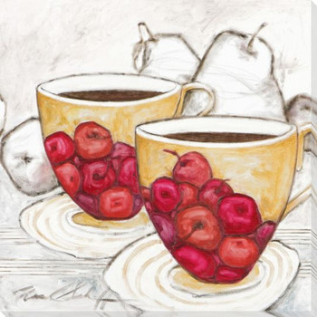 Let's Talk Coffee in Coffee Cups Wrapped Canvas Giclee Print Wall Art