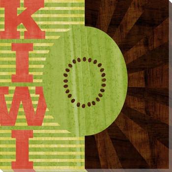 Wood Block Kiwi Wrapped Canvas Giclee Print Wall Art