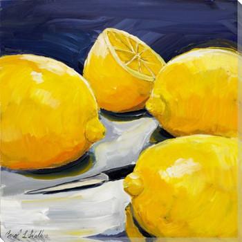 Lemons on a Table Wrapped Canvas Giclee Print Wall Art