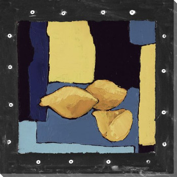 Bright Lemons in Blue II Wrapped Canvas Giclee Print Wall Art