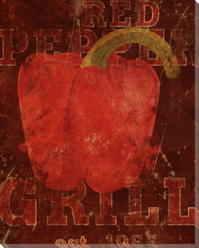 Red Grouping Bell Pepper 1 Wrapped Canvas Giclee Print Wall Art