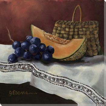 Fruit Basket I Grapes and Cantaloupe Wrapped Canvas Giclee Print