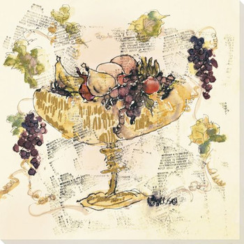 Tall Urn with Assorted Fruits Wrapped Canvas Giclee Print Wall Art